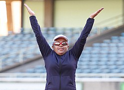 First Lady Margaret Kenyatta trains ahead of Marathon