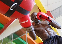 Boxer Michael 'Shaka' Nyawade trains at Nyayo TKO Gym